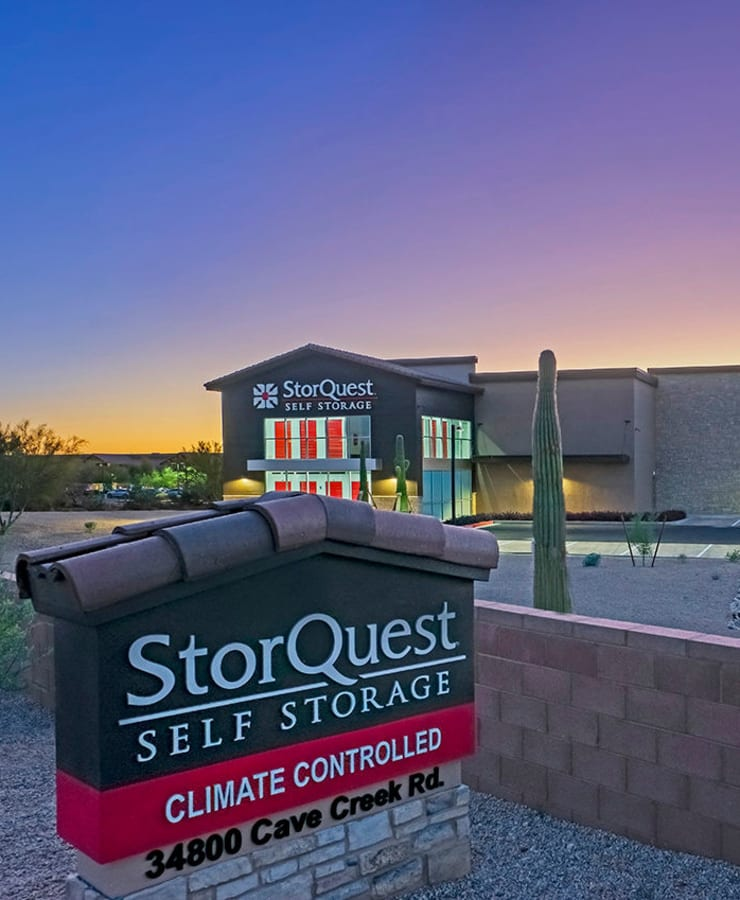 Branding and signage in front of StorQuest Self Storage in Carefree, Arizona