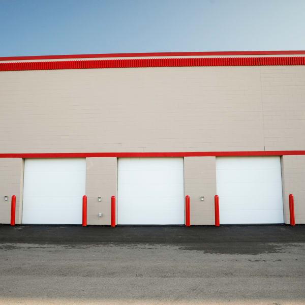 Exterior ground-floor storage units at StorQuest Self Storage in Madison, Wisconsin
