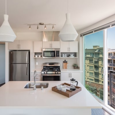 Beautiful bright kitchen at Session Apartments in Seattle, WA
