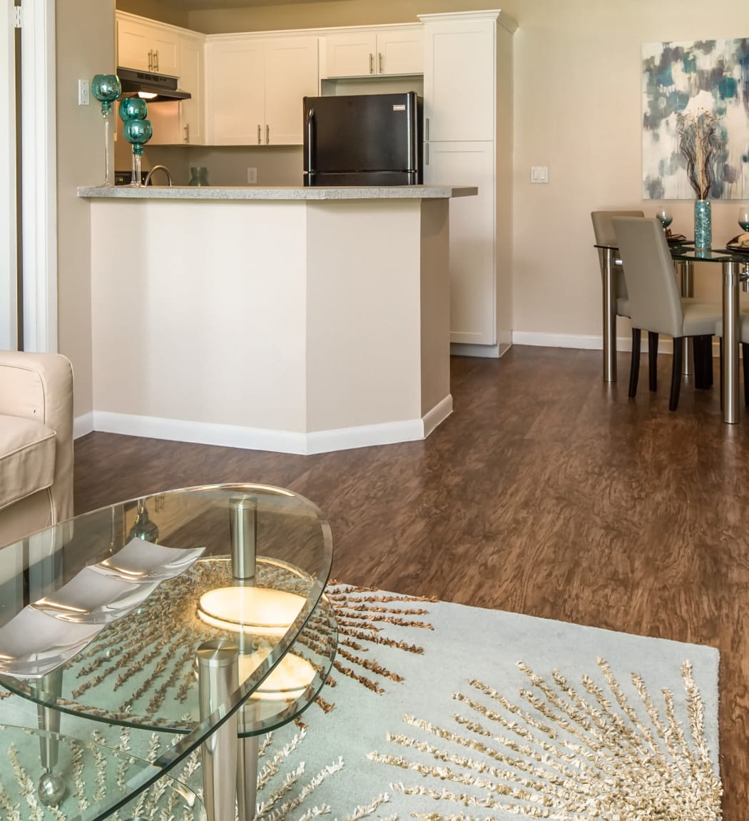 living room and kitchen of Huntington Place apartment