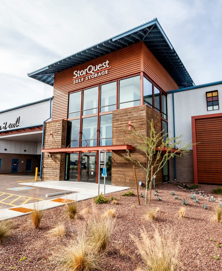 The exterior of the main entrance at StorQuest Self Storage in Buckeye, Arizona