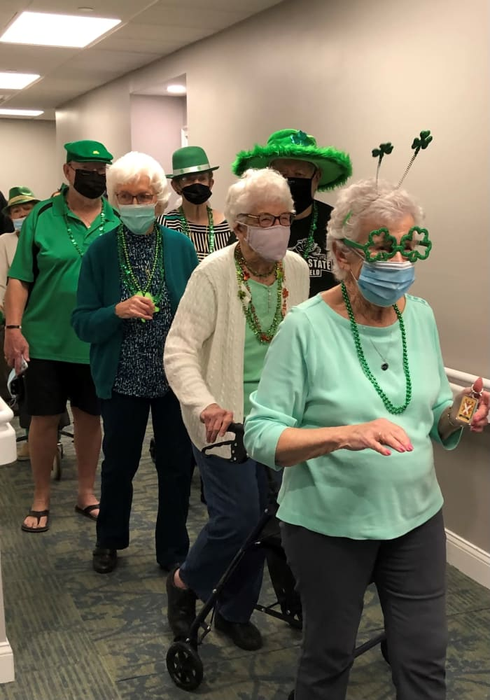 residents dressed in green St Patrick's day colors