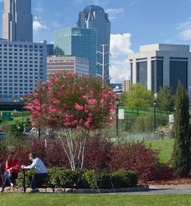 Couple sitting at a table in park with downtown in background near Marq Midtown 205 in Charlotte, North Carolina