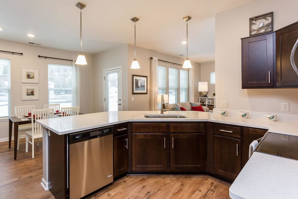 Townhome Kitchen and Dining Room at The Marquis at the Woods