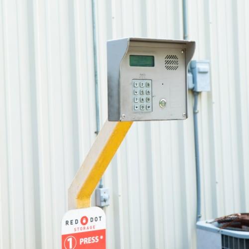 Secure entry keypad at Red Dot Storage in Vicksburg, Mississippi