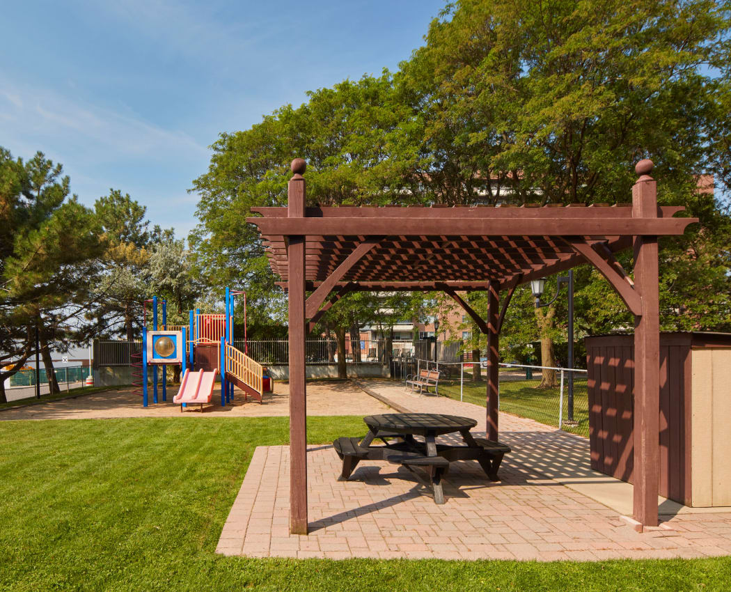 Gazebo and playground at Richmond Hill Apartments in Richmond Hill, Ontario