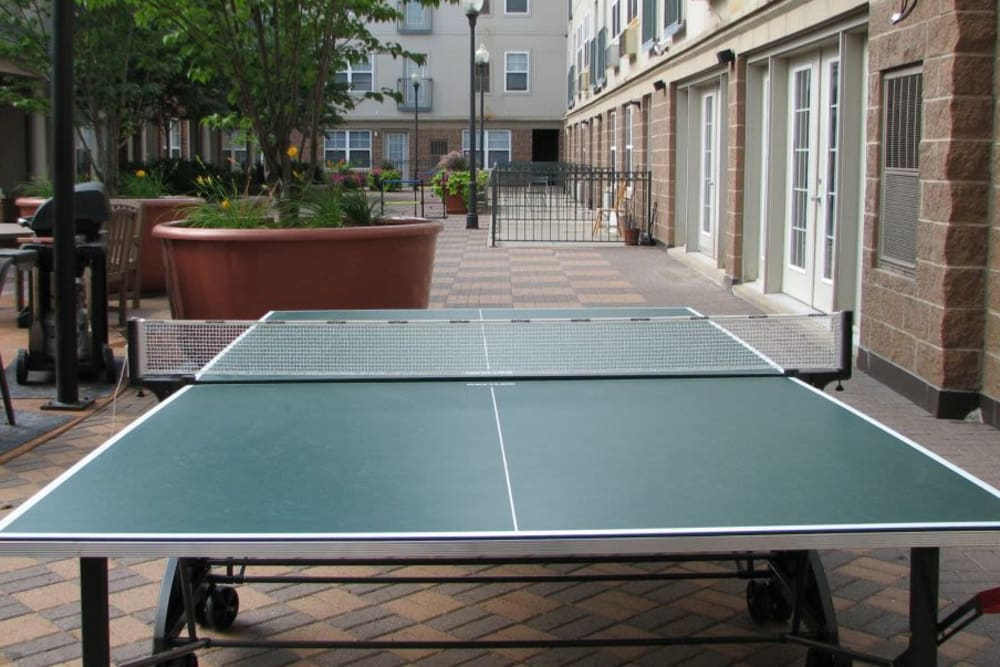 An outdoor pingpong table at Loring Park Apartments in Minneapolis, Minnesota