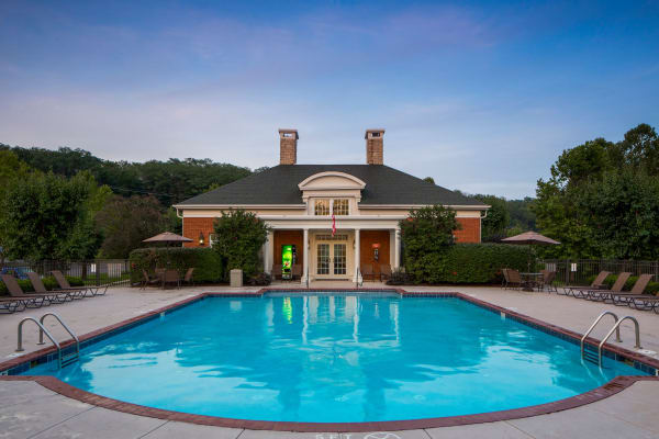 Swimming pool and clubhouse at The Preserve at Beckett Ridge Apartments & Townhomes in West Chester, Ohio