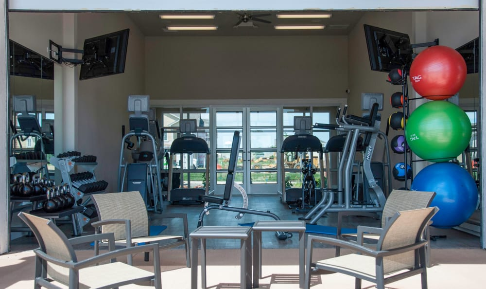 Indoor and Outdoor Fitness Center Amenities at Springs at South Broadway in Rochester, MN