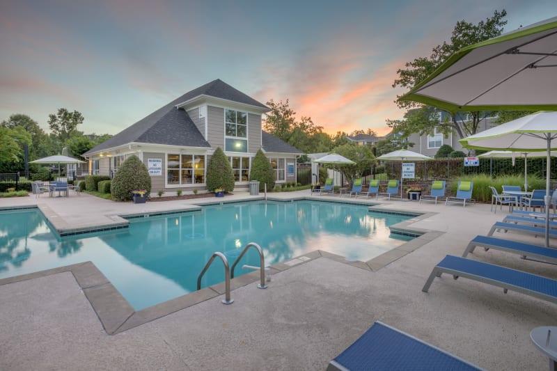 Swimming Pool at dusk at The Mark in Raleigh, North Carolina