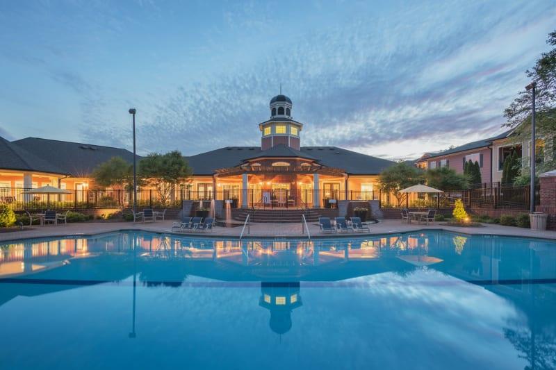 Resort style pool at dusk looking very refreshing at The Vive in Kannapolis, North Carolina
