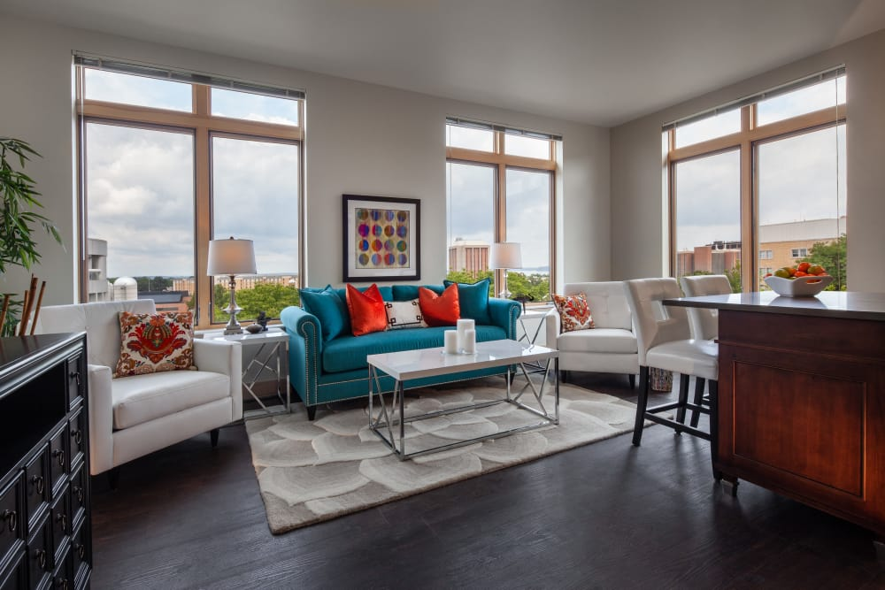 Model living room at Keystone Apartments in Madison, Wisconsin