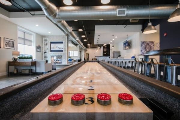 Shuffleboard table in Park West 205 Apartment Homes ' clubhouse in Pittsburgh, Pennsylvania