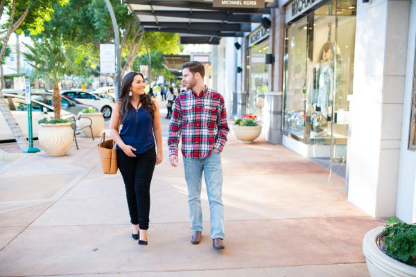 Resident couple going shopping downtown near Morrison Chandler in Chandler, Arizona