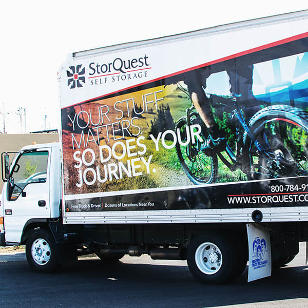 Branding on a moving truck at StorQuest Self Storage in Bradenton, Florida