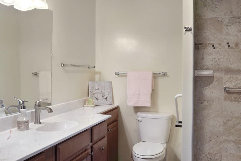 Resident bathroom at Monte Vista Village in Lemon Grove, California