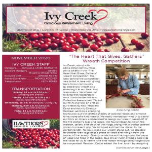 November newsletter at Ivy Creek Gracious Retirement Living in Glen Mills, Pennsylvania
