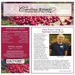 November newsletter at Carolina Estates in Greensboro, North Carolina