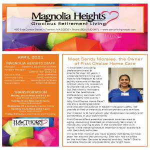 April newsletter at Magnolia Heights Gracious Retirement Living in Franklin, Massachusetts