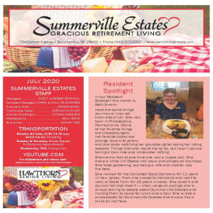 July Summerville Estates Gracious Retirement Living Newsletter