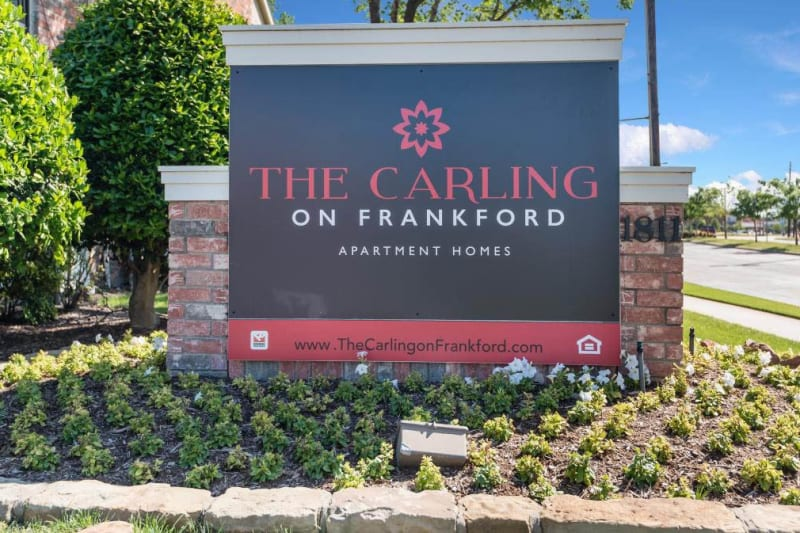 Exterior sign at The Carling on Frankford in Carrollton, Texas