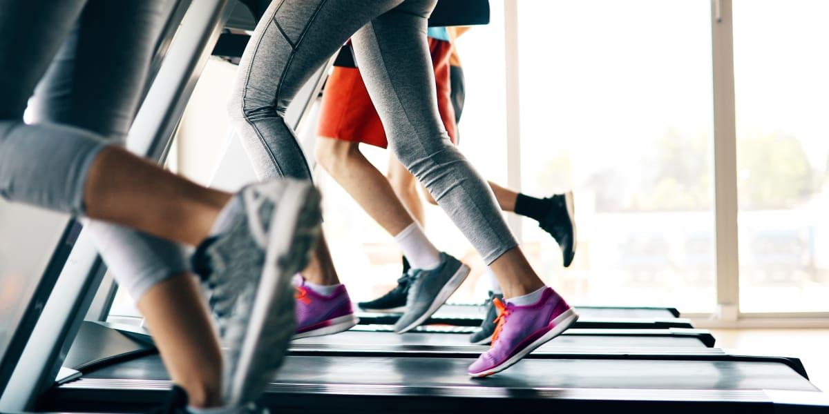 Residents running on treadmills at Marquis at Sugarloaf in Duluth, Georgia