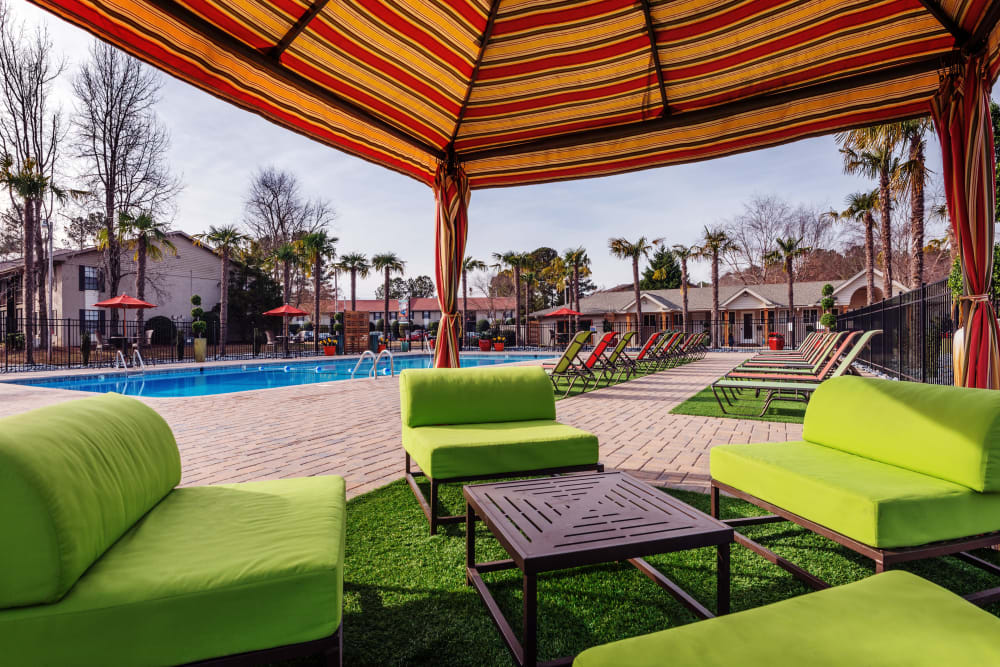 Great poolside gathering areas to lounge and hang out in at Berkshire 54 in Carrboro, North Carolina