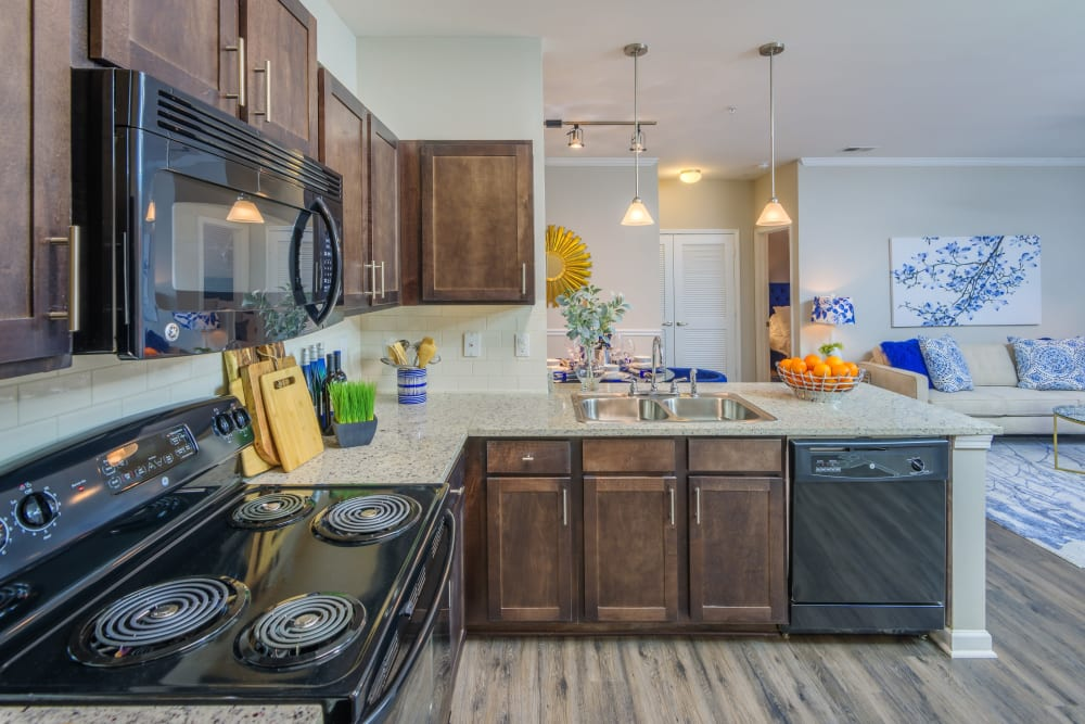 Sterling Town Center offers modern open concept floor plans with granite countertop kitchens in Raleigh, North Carolina