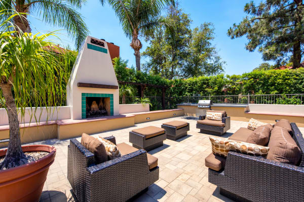 Enjoy the outdoor fireplace at Alvista Terrace