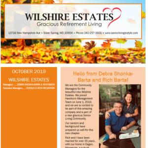 October Wilshire Estates Gracious Retirement Living Newsletter
