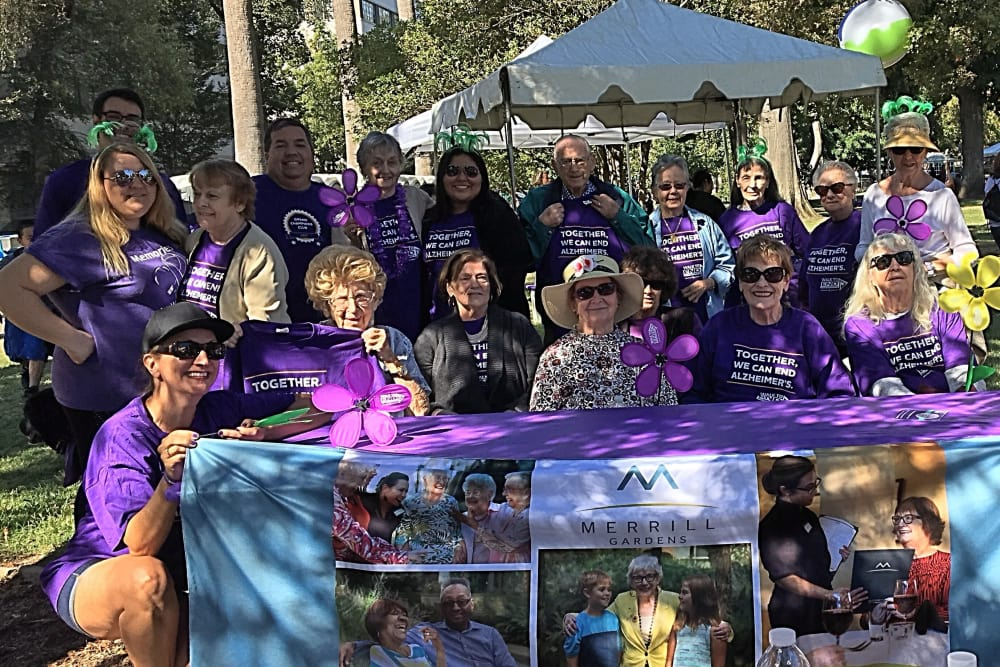 Residents and The Pines team supporting the Walk to End Alzheimer's