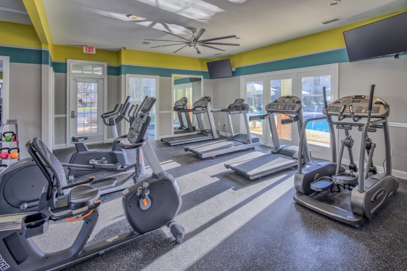 Well equipped fitness center at The Madison in Charlotte, North Carolina