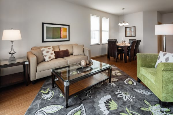 Model living room at The West End Apartments in Verona, Wisconsin