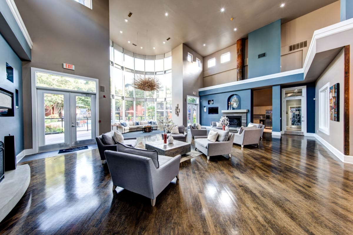 Modern and spacious clubhouse with high ceilings at Marquis on Gaston in Dallas, Texas