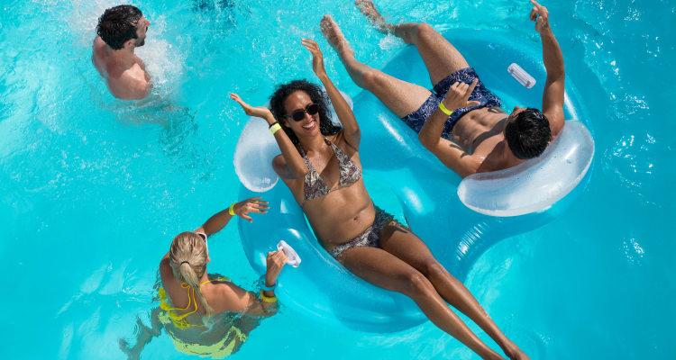 Family enjoying the pool at Las Casas at Windrose in Litchfield Park, Arizona