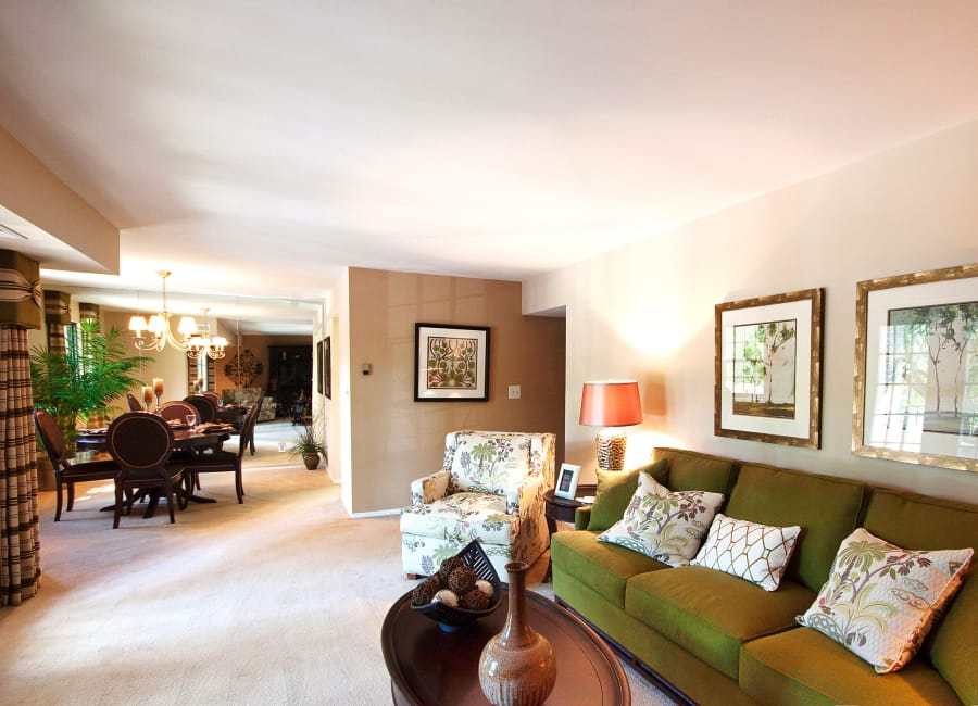 Spacious living room at The Brittany Apartments in Pikesville, Maryland