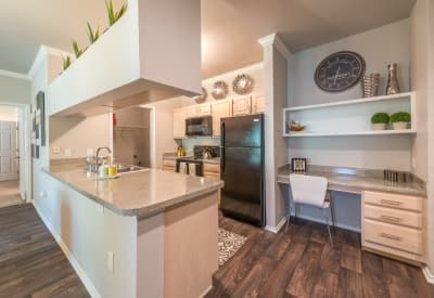 Modern kitchen view at 23Hundred at Ridgeview in Plano, Texas