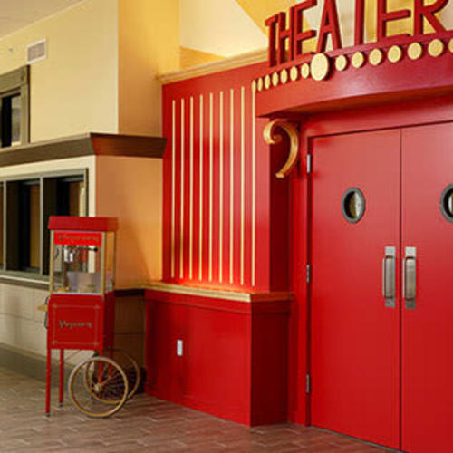 Onsite movie theater at First & Main of Auburn Hills in Auburn Hills, Michigan