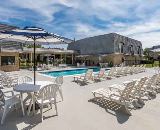 Resort-style swimming pool at Hilton Village II in Hilton, New York