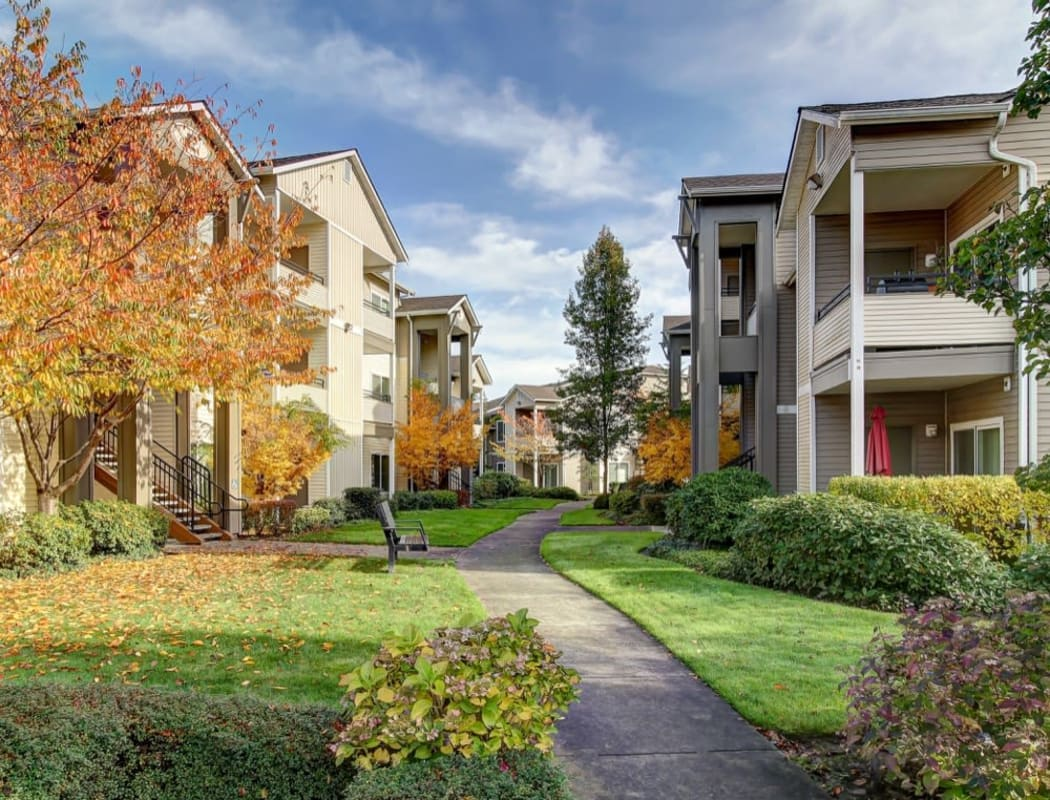 Beautiful autumn view of a well-maintained exterior common area between resident buildings at River Trail Apartments in Puyallup, Washington