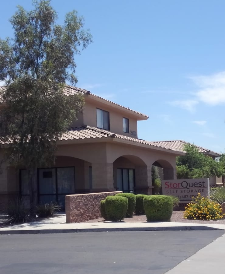 The exterior of the main entrance at StorQuest Self Storage in Sun City, Arizona