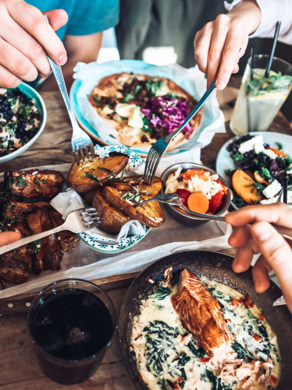 Residents eating near The Aeronaut in Weymouth, Massachusetts