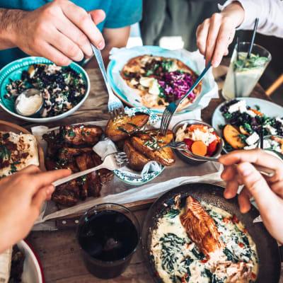 Family out having dinner in Austin, Texas near Austin Midtown