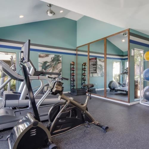 View virtual tour of the fitness center at The Landings at Steeplechase in Houston, Texas