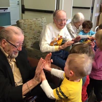 Residents and kids playing games at Ebenezer Ridges Campus in Burnsville, Minnesota