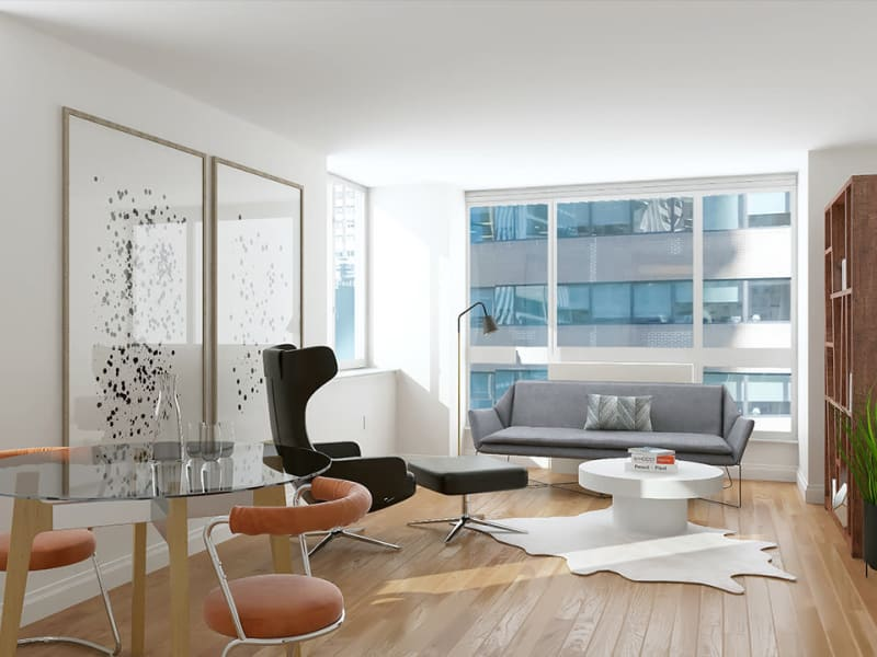 A modern, contemporary living room with a view at The Metropolis in New York, New York