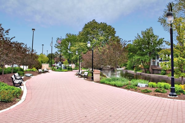 Brick walkway in downtown Naperville near Lakeside Apartments in Lisle, Illinois
