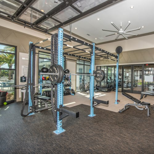 Well-equipped onsite fitness center at Olympus Emerald Coast in Destin, Florida