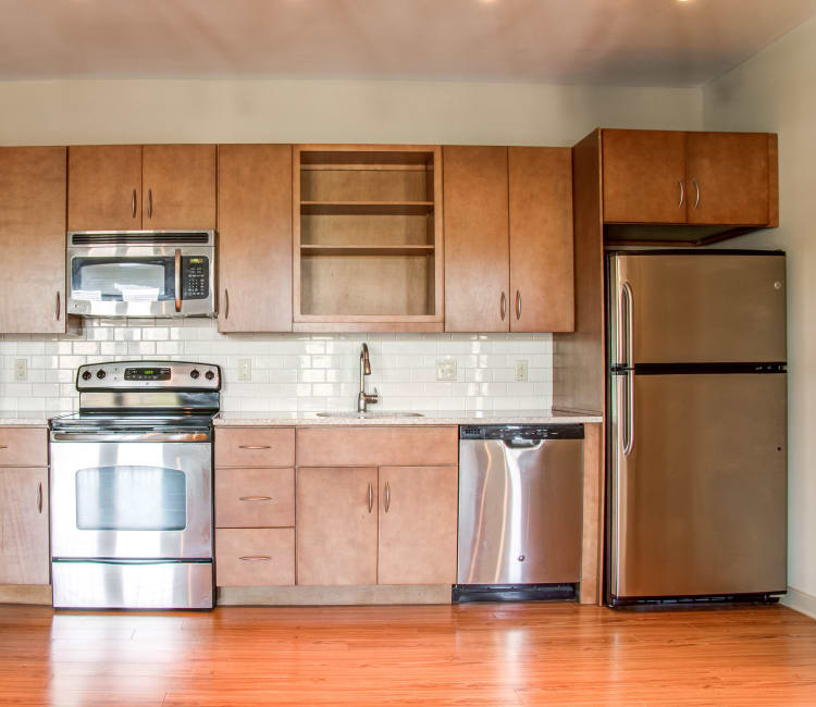 Fully-equipped kitchen at 12 South Flats in Nashville, Tennessee
