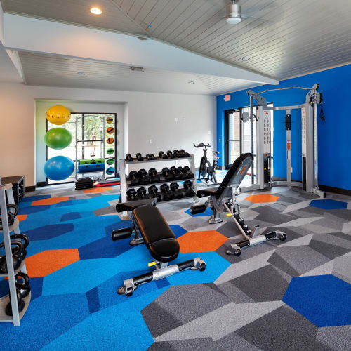 View virtual tour of the fitness center at Hayden at Enclave in Houston, Texas